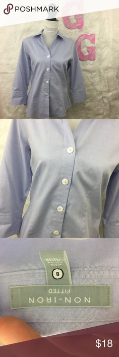 Foxcroft Light Blue Button Down 3/4 Sleeve Foxcroft Light Blue Button Down 3/4 Sleeve. Non-iron and soft. Missing the button on the right sleeve. Otherwise great condition! Foxcroft Tops Button Down Shirts