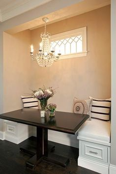 Breakfast Nook with Clear Beaded Chandelier - Transitional - Dining Room