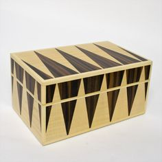 Wooden box veneered in a triangular design by Chris Kubash ( Edmonton, AB). Member of the Alberta Craft Council.
