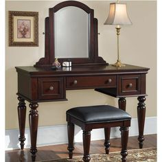 Home Styles Lafayette Vanity Table - Mirror & Bench