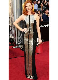 [£83,45] Black Lace Round Collar Floor Length Judy Greer Oscar Dress