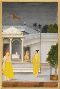 A PRINCE WEARING A YELLOW DHOTI WORSHIPPING AT A LINGAM SHRINE, MUGHAL, FARRUKHABAD, CIRCA 1760-70 gouache heightened with gold on paper, the steps at the lower edge a later addition, inscription in nasta'liq script to the upper edge, laid down on an album page with outer margins decorated with large flowers in gold, framed