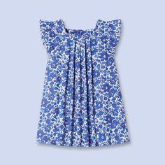 Pleated Liberty print dress BLUE/DEEP PURPLE Girl - Baby Clothes - Jacadi Paris