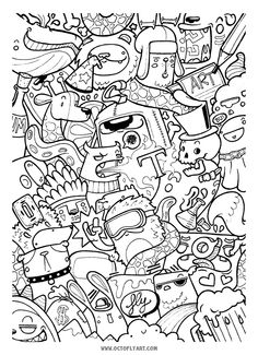 Delirium 2.0 on Behance Funny Doodles, Cool Doodles, Kawaii Doodles, Graffiti Doodles, Graffiti Drawing, Graffiti Painting, Adult Coloring Book Pages, Cute Coloring Pages, Doodle Coloring