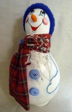 boneco neve em cabaça