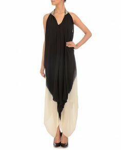 8c95d2456c Ivory-Black Border Dress by Tarun Tahiliani. Summer dress.