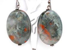 AMAZING MOSS AGATE EARRINGS!!! Vintage Agate Earrings Sterling Silver Moss Dangle Pierced Dendritic Large