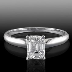 0.85 Cttw H I VS2 Enhanced Emerald Cut Diamond Solitaire Engagement Ring in 14K…