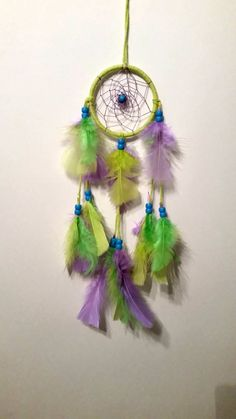 Green with Purple and Blue Dreamcatcher  3 by FeatheredDreamsbytj