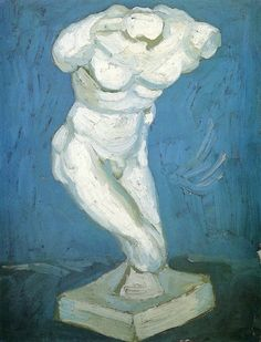 Plaster Statuette of a Male Torso, 1886, Vincent van Gogh Size: 35x27 cm Medium: oil on cardboard