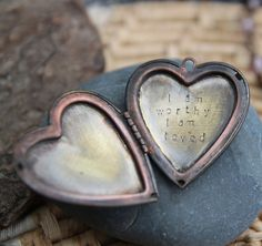 Can you trust this truth today? (yes.) :: SALE i am worthy i am loved . a whispered soul mantra locket