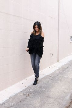"""""""It's no secret that I'm a huge fan of H&M... I styled their fringe sweater with ankle zip jeans and an open shoulder top"""" -@styleMBA, in H&M sweater, jeans, and open-shoulder top 
