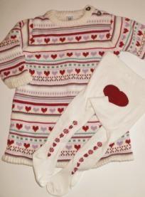 EUC Baby Gap Sweater Dress and Matching Heart Tights Girls sz 6 12m FREE SHIPPING