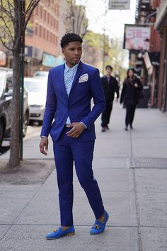 Blue Suit w/ Suede Slipper for Spring/Summer Style #menswear