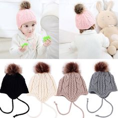 1a69eed5b9d  3.49 - Winter Warm Baby Knitted Hat Children Kid Cap Earflaps Thickening Infants  Hats  ebay