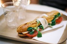 This never gets old ~ caprese salad on a baguette.