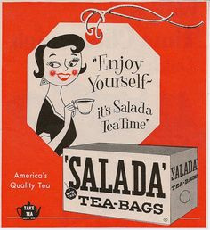 'Enjoy yourself - it's Salada tea time' print ad for Salada Tea-Bags depicts woman drinking cup of tea on teabag tag, & box of teabags, in Woman's Day magazine, May 1955, USA