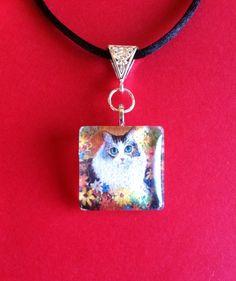https://www.etsy.com/shop/MoggysMall #cat, #glass, #pendant, #necklace, #tabby, #flowers, #green, #yellow, #orange, #hippy, #boho, #jewellery