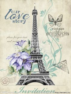 Eiffel Tower, Purple Flowers and butterflies, with postmarks.