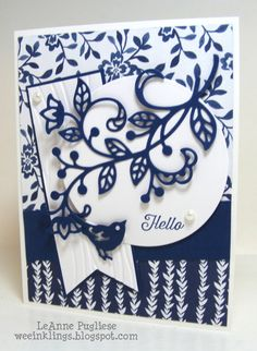 Floral Boutique DSP. Flourish Thinlits, Birds & Blooms Thinlits, Banners Framelits or Banner Triple Punch. Seaside EF. CS: WW, Night of Navy. Ink: Night of Navy. Navy banner 1 1/2 x 4 1/2