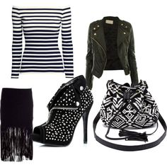 black and white by zachlisa on Polyvore featuring H&M, MuuBaa, Ellie Shoes and Charlotte Russe