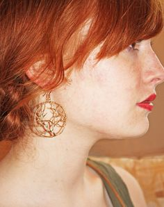 Tree of Life Earrings 14K Gold Ear Wires by Avalee on Etsy, $24.50