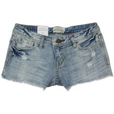 Low-waist Straight Denim Shorts ❤ liked on Polyvore