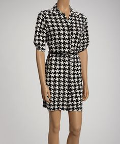 Another great find on #zulily! Shelby & Palmer Black & Ivory Bold Houndstooth Shirt Dress by Shelby & Palmer #zulilyfinds