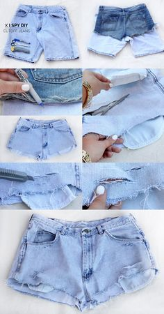 Diy ripped jeans, diy clothes и diy. Do It Yourself Jeans, Do It Yourself Fashion, Diy Clothes Refashion, Diy Clothing, Hot Pants, Shorts Diy, Diy Shorts From Jeans, Boyfriend Look, Diy Ripped Jeans