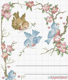 spring is in the air! Cross Stitch Heart, Cross Stitch Cards, Cross Stitch Animals, Cross Stitch Flowers, Modern Cross Stitch, Cross Stitch Designs, Cross Stitching, Cross Stitch Embroidery, Cross Stitch Patterns