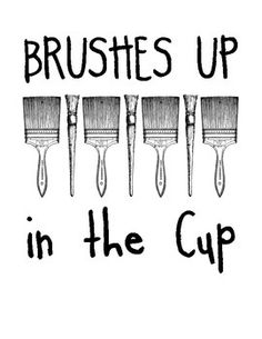 8x10 black and white sign/small poster reminding students to store their paint brushes with the brush bristles UP. As an elementary art teacher I felt like I was constantly reminding students to make sure they put the bristles up in order to save our brushes from being ruined.