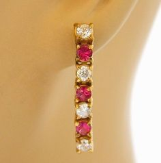 "Vintage Rhinestone Dangle Drop Earrings Red White Retro Costume Jewelry 1.25"" #DropDangle"