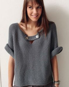 Crochet sweater - phildar (inspiration only) Handgestrickte Pullover, Crochet Clothes, Free Knitting, Simple Knitting, Knitwear, Knitting Patterns, Knit Crochet, Sweaters, Cardigans