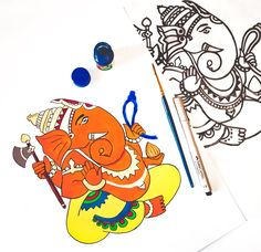 Ganpati Drawing, Playing Cards, Drawings, Playing Card Games, Sketches, Drawing, Portrait, Game Cards, Draw
