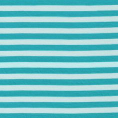 1/2 Jade/White Stripes Rayon Jersey Stretch Knit by StylishFabric, $5.50