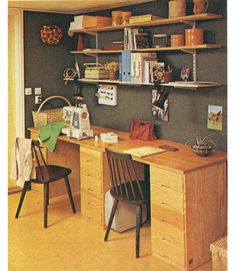 sewing/craft room design | sweden seventies 1970's 70's design interior craft room sewing machine