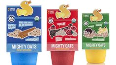 The outer carton for Little Duck Organics' Mighty Oats cereal contains seeds that sprout when the paperboard is planted.