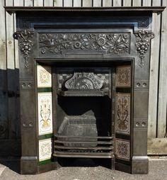 Antique Victorian Cast Iron Tiled Combination Fireplace Thomas Jeckyl