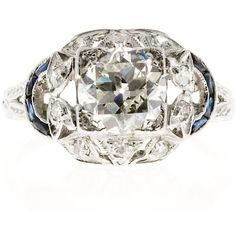 Preowned Diamond Sapphire Engraved Platinum Diamond Ring (19 105 AUD) ❤ liked on Polyvore featuring jewelry, rings, blue, baguette ring, baguette diamond ring, blue diamond ring, edwardian ring and edwardian diamond ring