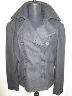 Charcol Gray Jacket Wool Military Style Coat Size L #ChezPatriciaDesigns #Military