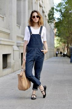 overalls and white top!