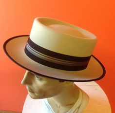 HAT  100 Rabbit Fur HandBlocked Boater Style Hat for by hatWRKS, $299.00 SOLD