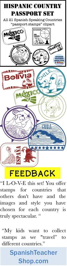 Passport stamps for all 21 Spanish Speaking Countries. Central and South American clipart. Spanish Lessons For Kids, Spanish Teaching Resources, Spanish Lesson Plans, Spanish Activities, Class Activities, Teaching Ideas, Middle School Spanish, Elementary Spanish, Learn Spanish Online