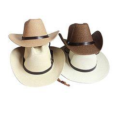 Adults Kids Cowboy Straw Hat Wide Brim Hat Summer Beach Sun Cap Foldable -  Khaki - C4184YRTGE2 c9d9906a0eda
