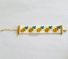 Pineapple delica miyuki seed beads loom bracelet