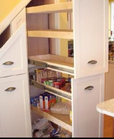 Unusual Storage Ideas For Under Stairs. Here are the Storage Ideas For Under Stairs. This post about Storage Ideas For Under Stairs was posted under the Furniture category by our team at February 2019 at pm. Hope you enjoy it and don& forget to . Kitchen Under Stairs, Space Under Stairs, Under Stairs Pantry Ideas, Under Stairs Drawers, Staircase Storage, Stair Storage, Staircase Makeover, Staircase Ideas, Modern Staircase
