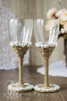 Vintage Chic WHITE Wedding glasses with light brown rope pearlcrystals handmade crystals and pearls wedding wine glassesRustic