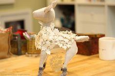 Mochta, the great Irish Elk - adventures in creating soft sculptures. www.scarletelfcup.com