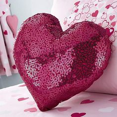 Decorated with pink sequins, this cushion is crafted in a heart shape with a bright pink background and has a removable, machine washable cover. Projects For Kids, Sewing Projects, Heart Cushion, Unicorn Bedroom, Pink Sequin, Little Girl Rooms, Happy Kids, Soft Furnishings, Bright Pink