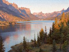 "Sunrise On St. Marys Lake 30""x40"" Oil on Linen. By Jay Moore"